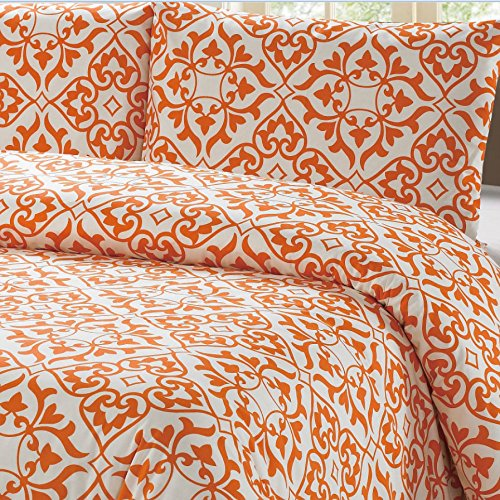 "Sale!! 100% Cotton Orange Damask Pattern Duvet Cover Set Full/queen on White Background ""Duvet ..."