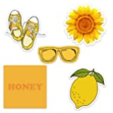 Cute Yellow Vinyl Laptop and Water Bottle Decal Sticker Pack, Made in US (Color: Yellow Aesthetic)