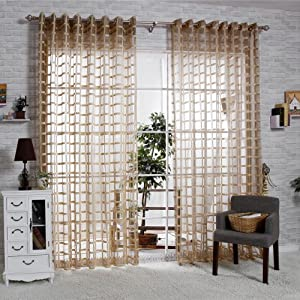 R lang solid grommet top square lattice living room sheer curtain 1 pair coffee 66 - Amazon curtains living room ...