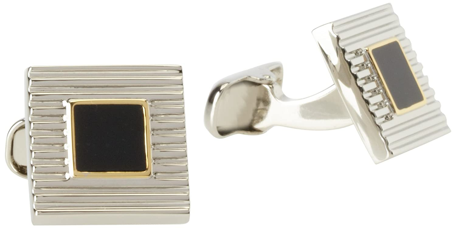Donald Trump Men's Grooved Silver and Gold Tone Cufflinks