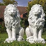 Löwen Paar weiß Steinfigur Steinguss Löwe