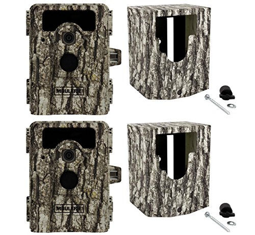 (2) Moultrie Game Spy 8Mp D-555I No Glow Infrared Trail Cameras + Security Boxes