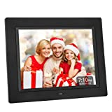 Crosstour Digital Photo Frame 8 Inch Black, for Video, Photo & Business Menu, 4:3 Wide Screen Wall Mounted or Desk Picture Frame with Remote Control, Best Gift for Your Christmas