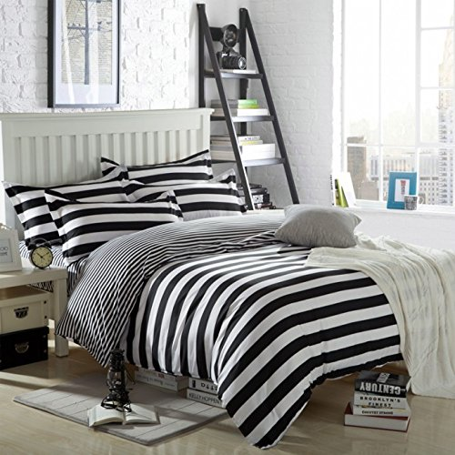Ttmall Twin Full Queen Size Cotton 4-pieces Black White Stripes Prints Duvet...