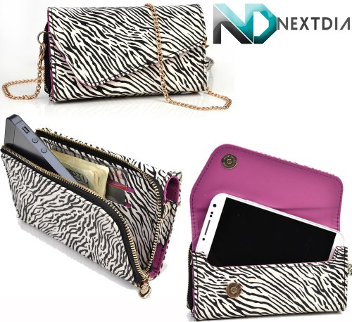 Gigabyte Gsmart Maya M1 V2 Womens Wristlet Clutch Case Classic Zebra Pattern With Matte Radiant Orchid With Credit Card Holder And Crossbody Shoulder Strap & Nd Velcro Cable Organizer