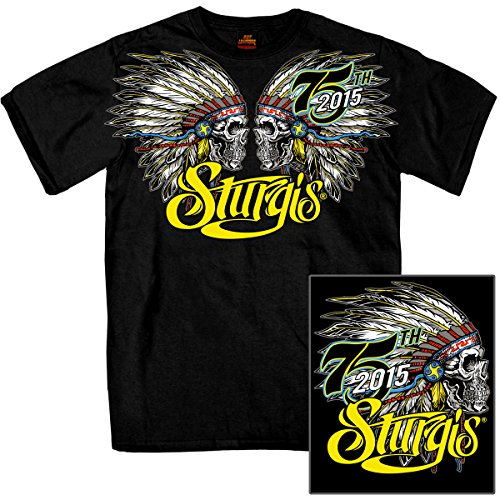 Hot Leathers Official 2015 Sturgis Motorcycle Rally Jumbo Print Indian Headdress T-Shirt L