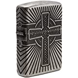 Zippo Armor Celtic Cross Design Pocket Lighter (Color: Antique Silver)