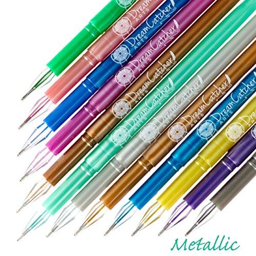 Dreamcatcher Arts 48 Adult Coloring Glitter, Neon, Metallic and Pastel Gel Pen Set