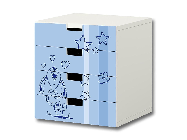 """""""Knuddelwelt"""" blau Möbelsticker / Aufkleber – S4K18 – passend für die Kinderzimmer Kommode mit 4 Fächern / Schubladen STUVA von IKEA – Bestehend aus 4 passgenauen Möbelfolien (Möbel nicht inklusive) kaufen"""