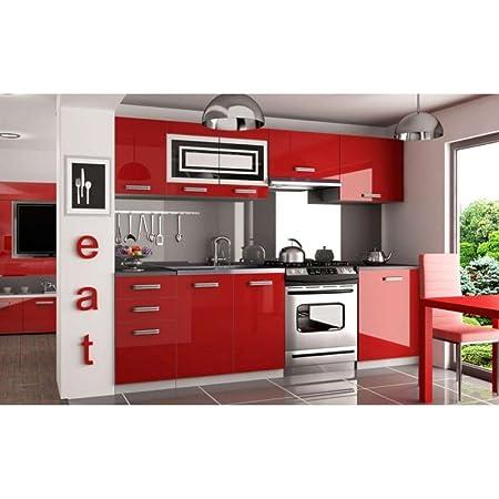 JUSThome Infinity Pro Kuchenzeile Kuchenblock Kuche 240 cm Farbe: Rot Hochglanz