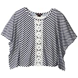 My Michelle Big Girls' Striped Top with Crochet Lace