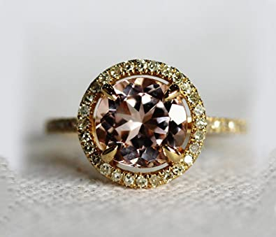 VogueGem HALO 2.35ct 8MM Morganite .32ct Diamond Claw Prongs Solid 14K Yellow Gold Wedding Ring