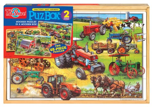 T.S. Shure American Tractors 2 Jumbo Puzzles In A Wooden Box