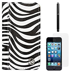 VanGoddy Zebra Print Mary Portfolio Self Stand Case Cover For Apple iPhone 5S / 5G (White) + Tempered Glass Screen + Stylus