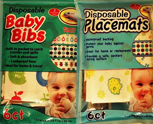 Disposable Baby Bibs & Placemats - 6 Ct Each - Ideal for Home & Travel