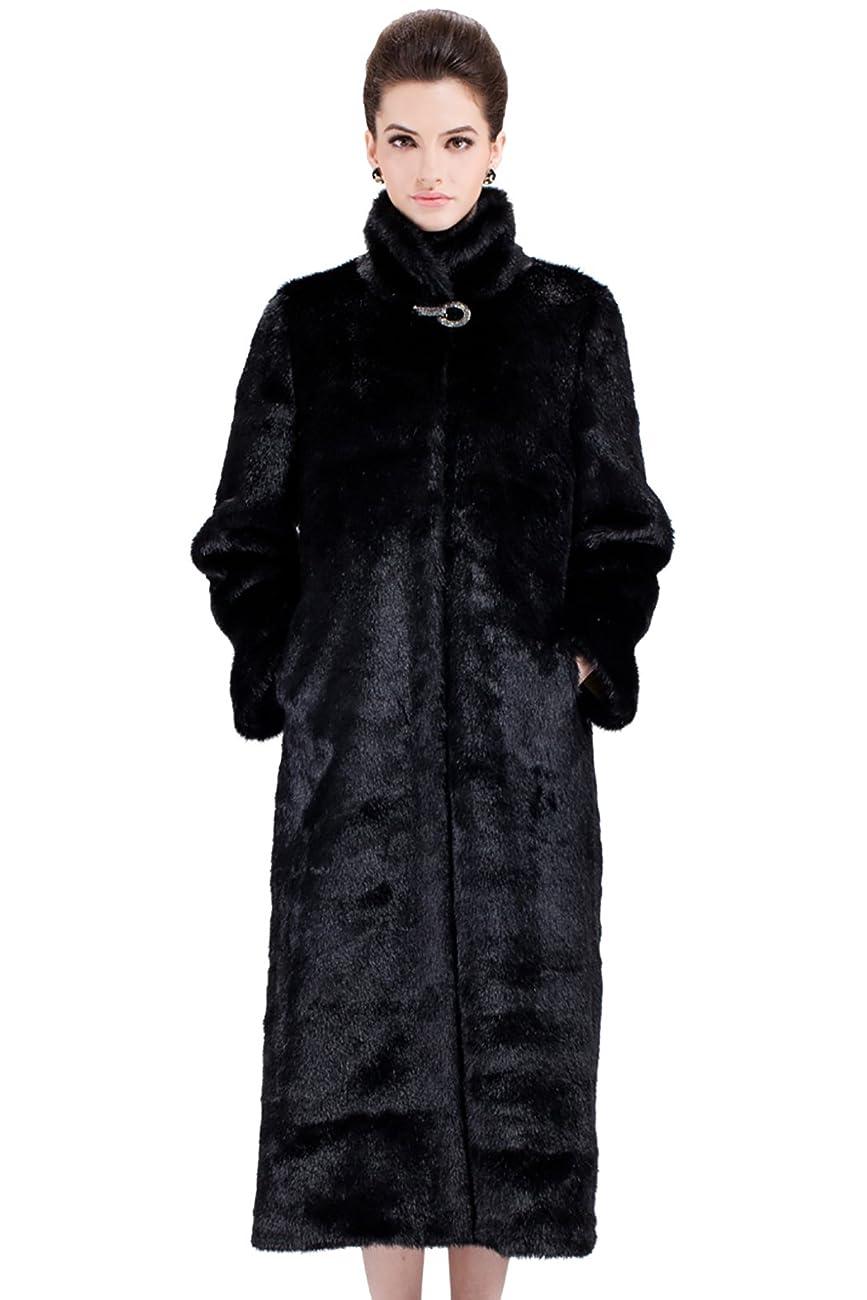 Adelaqueen Women's Elegant and Vintage Outerwear Mink Fabulous Faux Fur Coat 0