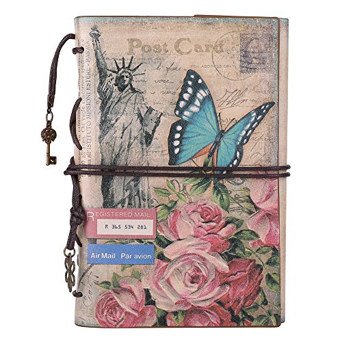 Leather Journal Notebook, MALEDEN Spiral Bound Daily Notepad For Women Men Traveler Notebook Sketchbook Antique Diary Refillable Planner with Unlined Paper and Zipper Pocket (A6, Flowers) (Personal Photo Calendar compare prices)
