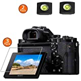 A7R Screen Protector Appliable for Sony Alpha A7R A7 A7S Digital Camera & Hot Shoe Cover,ULBTER 0.3mm 9H Hardness Tempered Glass Flim Anti-Scrach Anti-Fingerprint Anti-Bubble Anti-Dust [3 Pack] (Color: A7S A7R A7)