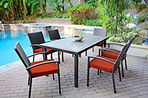 7 Piece Espresso Resin Wicker Outdoor Table