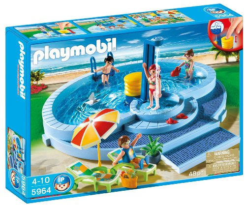Playmobil toy water park with slides sets gift ideas for for Piscine playmobil prix