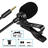 Bilione Lavalier Lapel Microphone with 79 Extension Cable and PC Adapter-Professional Omnidirectional Condenser Mic for IPhone, Android Smartphone, D