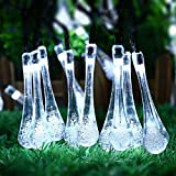 Solar Outdoor String Lights, ICICLE 15.7 Ft 8 Light Modes 20 Water Drop White LEDs, Led Fairy Lighting for Garden Decorations, Fence, Patio, Christmas, Wedding, Party, Home and Holiday