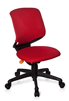 hjh OFFICE KID MOVE BLACK - Silla giratoria para niños, color rojo y negro