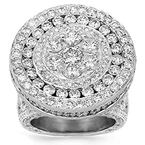 14K White Gold Mens Diamond Pinky Ring 15.90 Ctw - 8