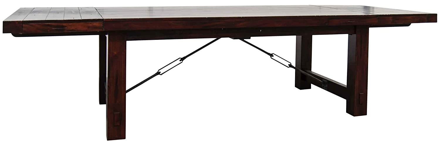 Vineyard Extension Rustic Mahogany Dining Table with a Merlot Finish by Sunny Designs