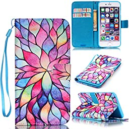 iPhone 6S Case,iPhone 6 Case,JanCalm [Wrist Strap Design][Kickstand] Pattern Premium PU Leather Wallet [Card/Cash Slots] Flip Cover for iPhone 6/6SIncluding-ONE Crystal Pen (Water lily)