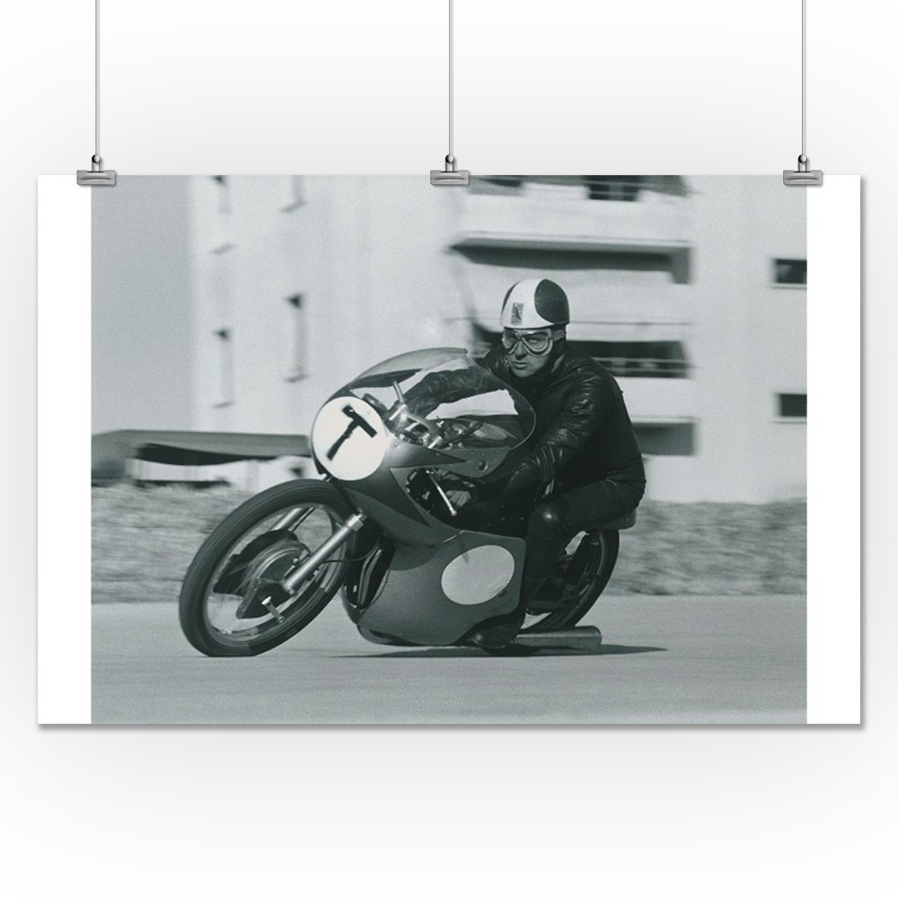 Motorcycle Race - T Vintage Poster (24x36 Giclee Gallery Print, Wall Decor Travel Poster) 1
