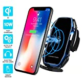 Wireless car Charger,EERIE A5 Smart Sensor Wireless Car Charger Mount,QI 10W Automatic Clamping Fast Charging Holder Compatible with iPhone Xs/Xs Max/XR/X/8/8 Plus,Samsung Note 9/ S9/ S9+/S8 (Blue) . (Color: A5-Blue)