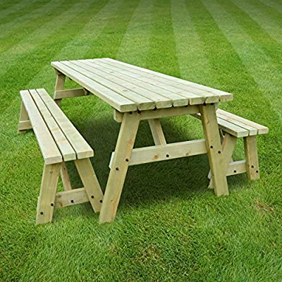 Garden Table And Bench Set - Picnic Table - Pub Style Bench - 6ft - Heavy Duty - Hand Made - Light Green - Pressure Treated!!