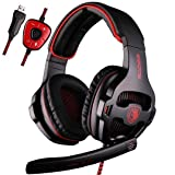 SADES SA903 7.1 Channel Surround Stereo Noise Canceling LED Light USB Wired Over Ear PC Gaming Headset with Mic - Black/Red (Color: 903Red)