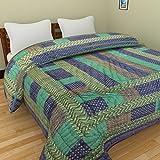 GRJ INDIA Jaipuri World Famous Light Weight Pure Cotton Gold Print Blue Colour Reversible Double Bed Quilt /AC...