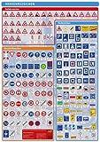 Lernposter Verkehrszeichen: Die Verkehrszeichen in Deutschland auf einem Poster, unterteilt nach Gefahrzeichen,Vorschriftzeichen und Richtzeichen.