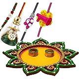Charming Green & Yellow Floral Cut Rakhi Pooja Thali With Set Of Bhaiya Bhabhi & Kids Rakhis