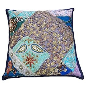 """Purple Beaded Home Decor Patchwork Throw Decorative Cushion Cover 13"""" Inches"""
