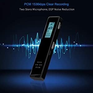 Digital Voice Activated Recorder for Lectures and Meetings with Double Noise Reduction Audio Microphone Rechargeable 16GB HD Sound Tape Mini Spy Dictaphone Recording Device with Mp3 Player USB (Color: Black, Tamaño: Mini Voice Recorder)