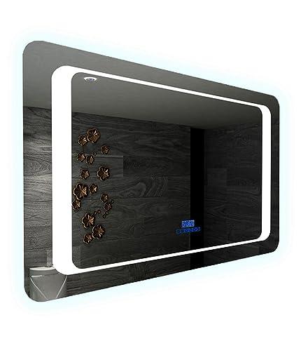 Specchio LED bagno anti-appannamento con Bluetooth Musica altoparlante e sensore Sensitive galaxi 70cm 80cm 100cm e 120cm, 70 x 50 cm