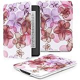 """MoKo la Más Delgada y Ligera Funda para Amazon All-New Kindle Paperwhite (Ambos 2012 y 2013 verciones con 6 """" Display y luz integrada), Floral VIOLETA (Con Cierre Magnético Para Reposo Automático)"""