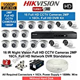 HIKVISION Full HD1080P (2MP) 16 CCTV Cameras & 16 Ch.Full HD DVR Kit (All Accessories)