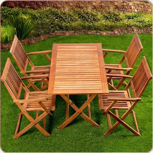 Ensemble table et 4 chaises de jardin sydney bois for Ensemble table et 4 chaises pas cher