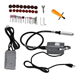 HYYKJ 55pc 35 inch Electric Flexible Shaft Die Carving Caver Grinder Rotary Grinding Polishing Sanding Tool 22000 RPM Variable Speed Foot Control Pedal Kit 110V 60Hz (Color: Black & Grey, Tamaño: 12.6'' x 10.2'' x 4.3'')