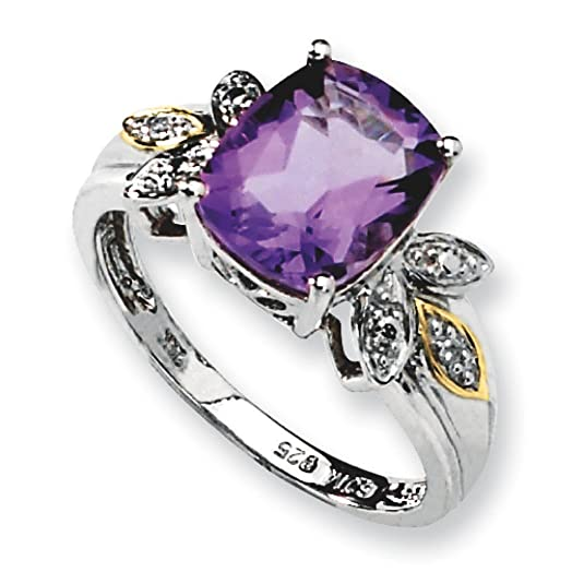 Sterling Silver and 14K Amethyst and Rough Diamond Ring - Measures 2x11mm - Ring Size Options Range: L to P