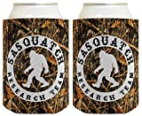Funny Can Coolie Sasquatch Research Team Camping Gag Gift Outdoors Hiking Hunter Hunting 2 Pack Can Coolie Drink Coolers Coolies Woodland Camo