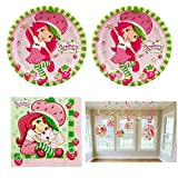 Strawberry Shortcake birthday Party Supplies - 16 guests - plates, napkins, swirl decorations by Designware