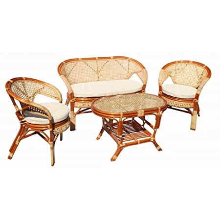 Pelangi 5 Piece Rattan Wicker Set of 2 Chairs 1 Loveseat and Oval Coffee Table W/glass Colonial (Light Brown) Color