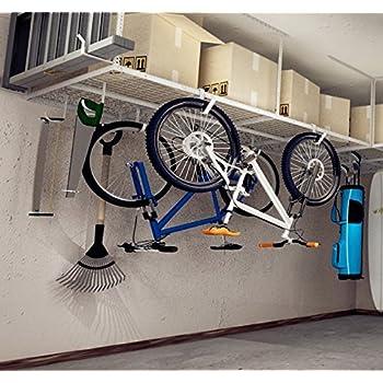 Fleximounts 4x8 Overhead Garage Rack with Add-on Hooks Set Heavy Duty Height Adjustable Ceiling Racks (22-40