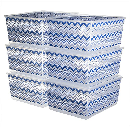 6 Pack KIS UrBin Large Plastic Storage Bins With Lids Home Organization Containers Stacking Clothing School Crafts (Plastic Lid Large compare prices)